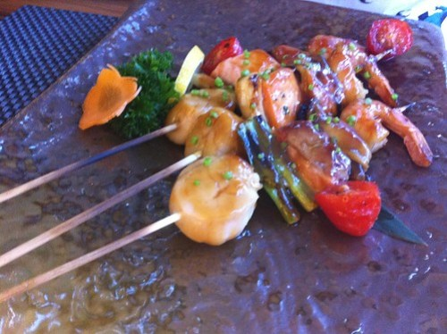Scallop, Salmon, Mussel & Prawn Yakitoria Skewer - Shiro