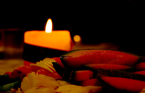 Candle and Fruit