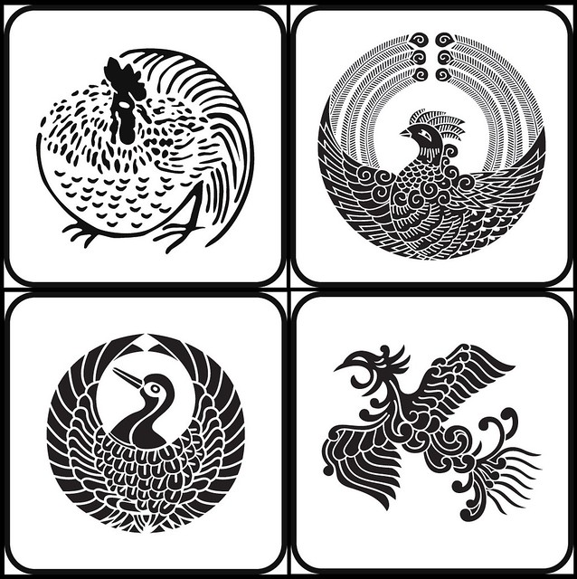 tori, maihouou, maitsuru, houou (animal - kamon)