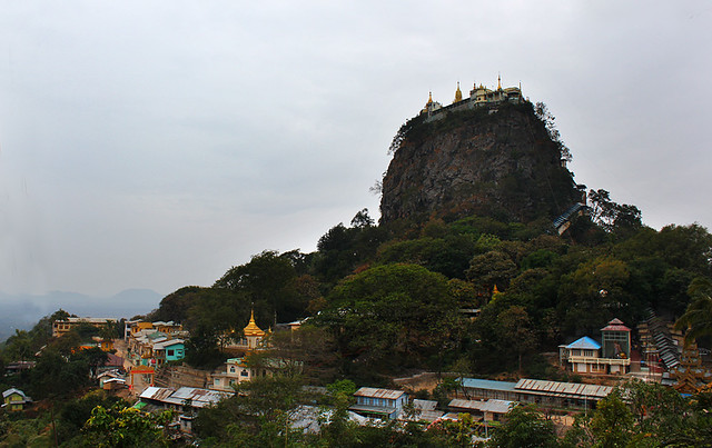 Mount Popa with a temple complex at the top