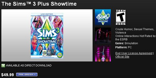 Pre-Order Sims 3 + Showtime on Origin