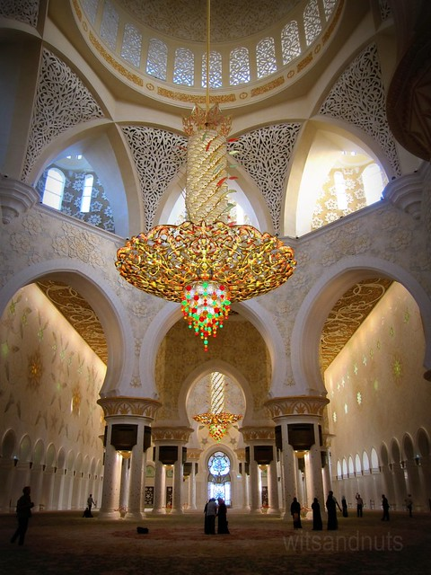 Largest chandelier in the world, at the main dome of Sheikh Zayed Grand Mosque, Abu Dhabi, UAE. 10 meters in diameter, 15 meters in height, and 8 - 9 tonnes in weight.
