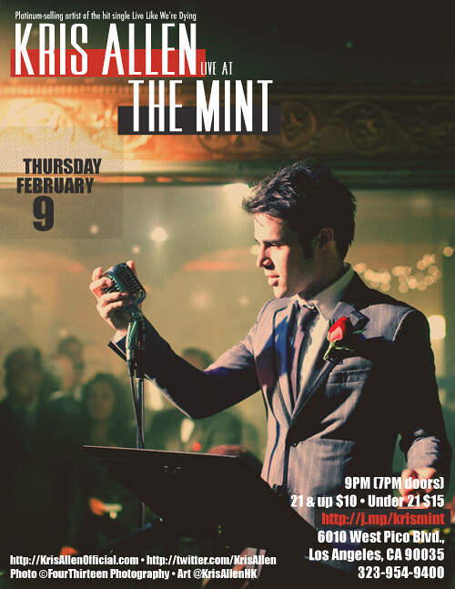 Kris Allen The Mint concert poster flyer
