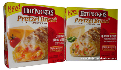 Hot Pockets Pretzel Bread Sandwiches (Queso Chicken and Cheddar Bacon Melt)