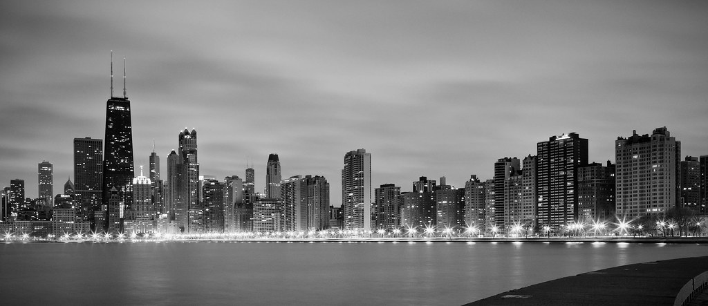 Chicago Skyline From North Avenue Beach in Black and White