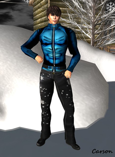 PEER Style - Black Leather Snowflake Pants, Wilson's Designs Blue Leather Jacket, Gabriel - Black Leather Booties