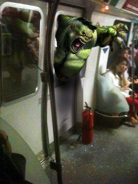 Bruce Banner transformed into the Incredible Hulk to rescue SMRT passengers (image via EDMW)