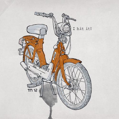 "Illustration Drawing Art Vespa Piaggio Ciao Orange ""I hit it!"" Moped"