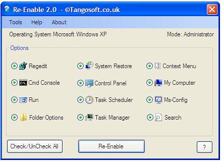 Enable করুন disable হয়ে যাওয়া RUN, Task Manager, Folder Option, Control Panel ইত্যাদি ।