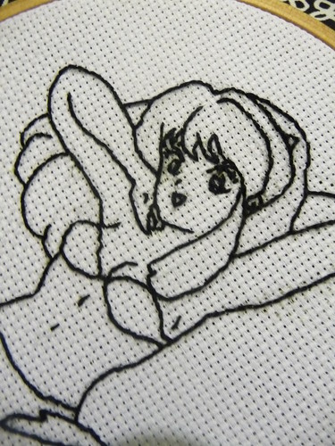 Lum Urusei Yatsura embroidery (work in progress)
