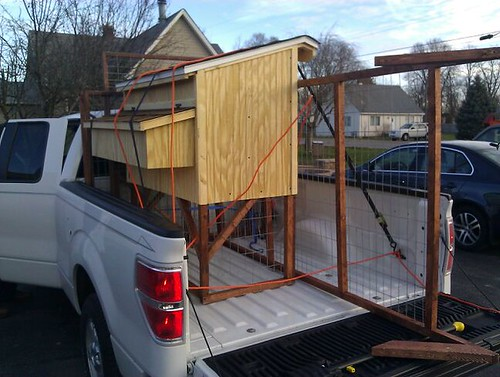 Chicken coop in the back of a pickup