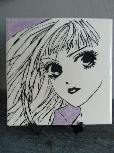 Painted tile - image from the manga Life