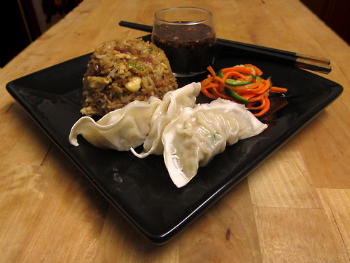 Leek and ginger pork gyoza with soy dipping sauce