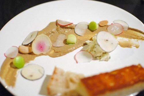 chicken liver, radish, toast, apple, parsnip, almond2