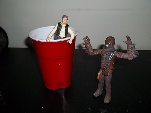 Hour 5: Red Solo Cup ... I fill you upwith a Han Solo while Chewie looks on in confusion