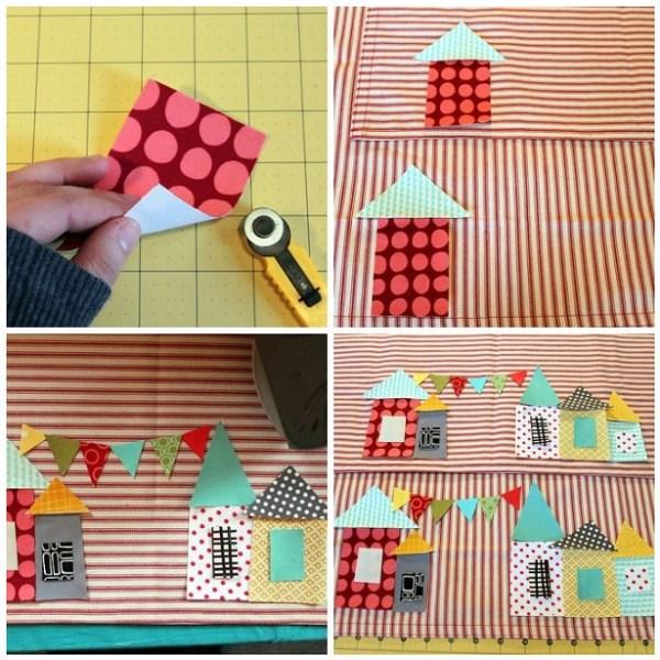 Cuttting Valetine village pieces from you heatbond fabrics