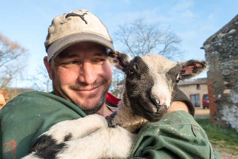 Matt and one of our baby sheep buddies, Ben.
