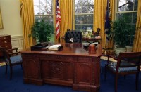 Photograph of Socks the Cat Sitting Behind the President's ...