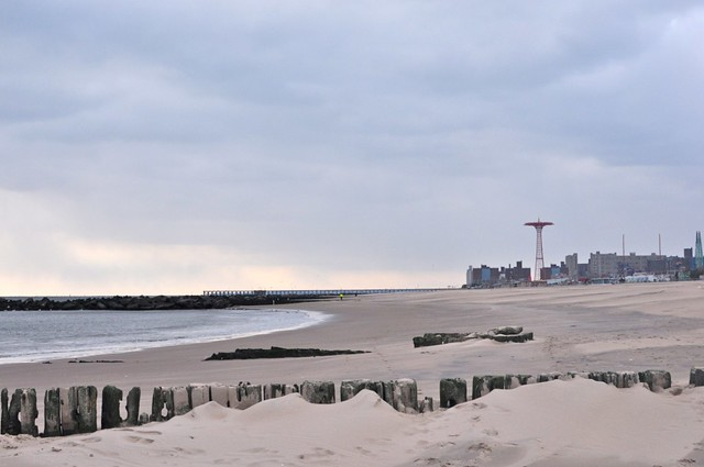 coney island beach in winter