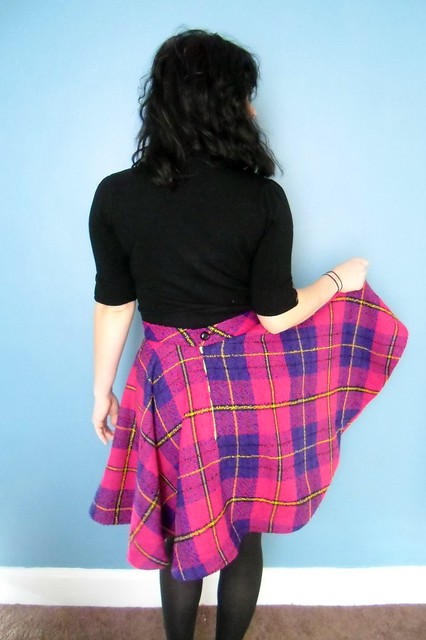 plaid circle skirt - back