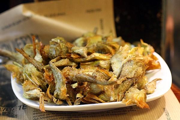 Fried Artichoke Chips eaten at La Boqueria Market, Barcelona