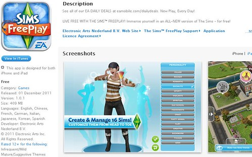 The Sims FreePlay - Now Available in The Sinapore iTunes App Store