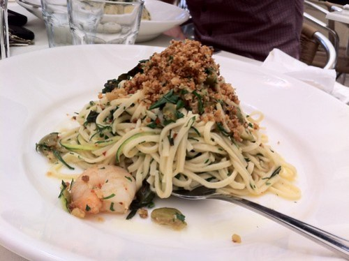 Linguini with chilli prawns at Table 78