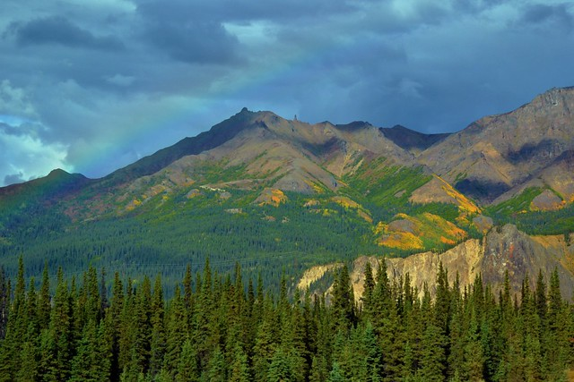Rainbow over Alaska mountains in Denali National Park