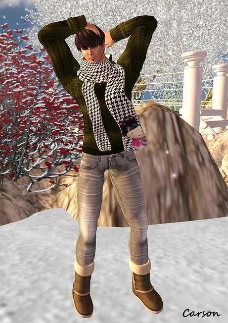 ROSENWOLF DESIGN Knit Moss Hooded Sweater, American Bazaar - Stripes Grey Jeans and Kawaii Scarf,  [BedlaM]  - Ugg Boots