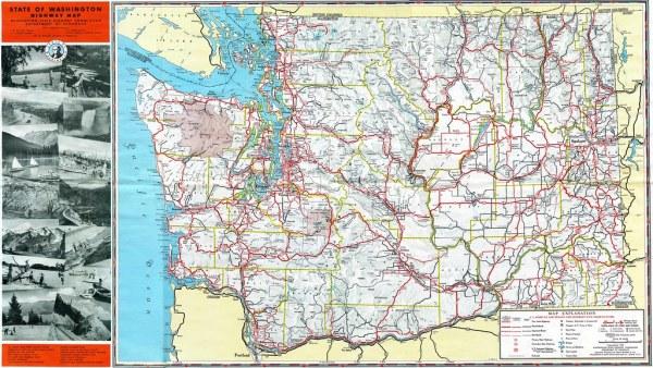 1952 Washington State Highway Map Flickr Photo Sharing!