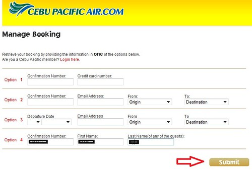 Cebu Pacific Online Manage Booking