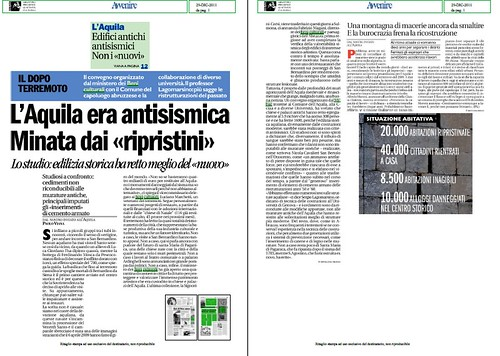 """L' AQUILA - IL DOPO TERREMOTO: L' Aquila era antisismica Minata dai """"ripristini"""" lo studio: edilizia storica ha retto meglio del """"nuovo"""". Avvenire (29/12/2011), p. 1 [PDF]. by Martin G. Conde"""