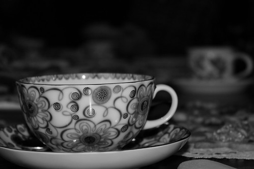 Russian teacup b&w