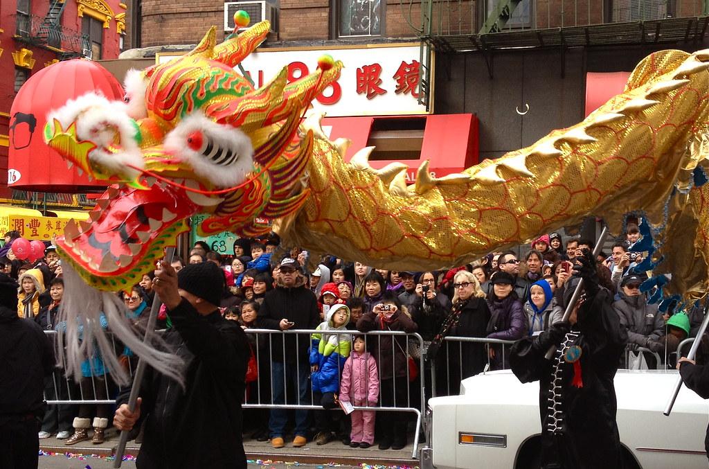 Flying dragon at the Chinese New Year Parade NYC 2012