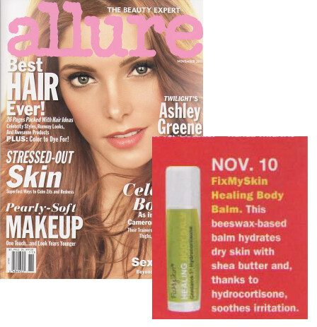 FixMySkin Healing Balm featured in November 2011 issue of Allure Magazine