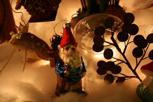 Winter display gnome and frog