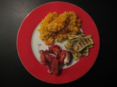 Pumpkin risotto with awesome roasted tomato & onion salad