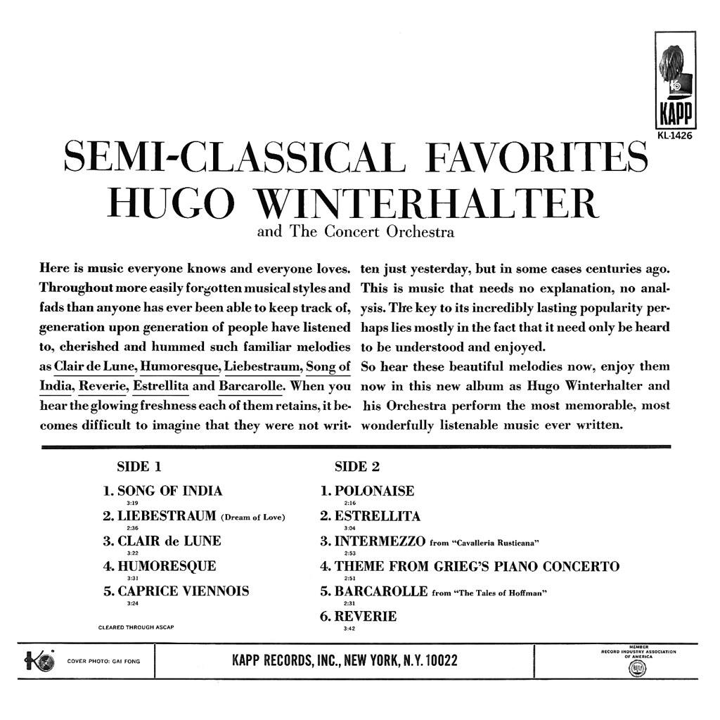 Hugo Winterhalter - Semi-Classical Favorites
