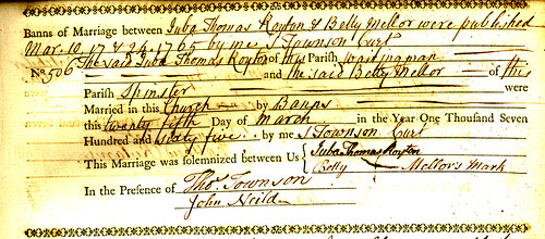 Marriage of Juba Royton in marriage register for Oldham St. Mary