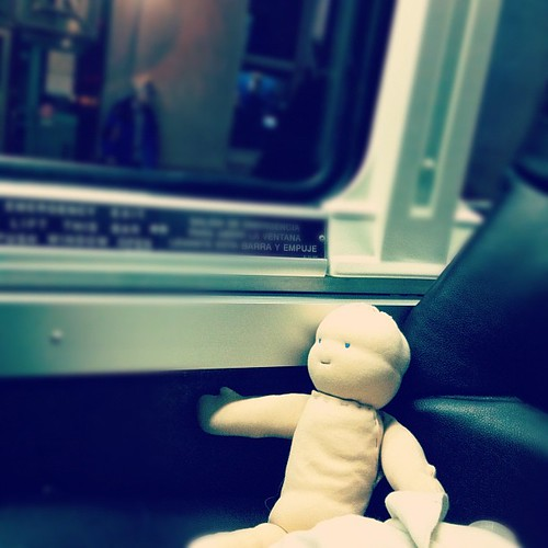 Doll baby is riding bolt bus with me tonight. Getting his arms sewn on and his hair crocheted.