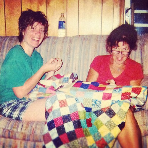 My mama and I hand-quilting together a few years ago. RIP, miss you Mom.
