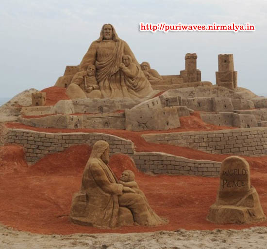 """PEACE POINT"" Sand Art Park testimony of World Peace on Puri beach"