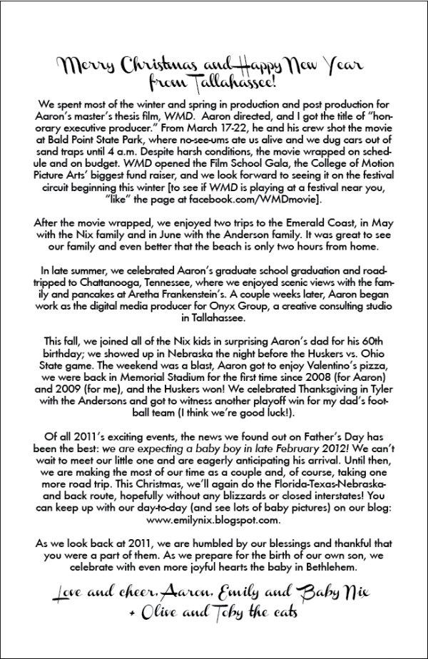 2011 Christmas Letter