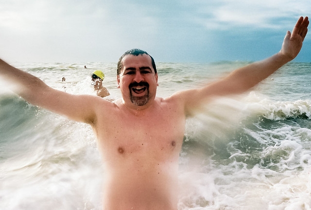 jubilant christmas day swimmer