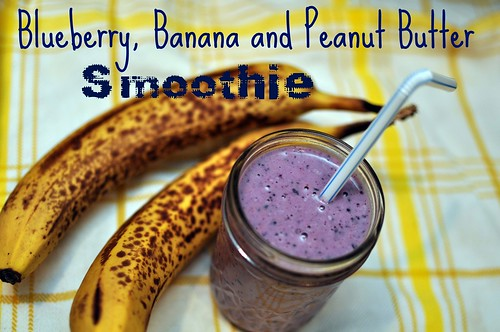 Blueberry, Banana and Peanut Butter Smoothie