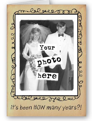 Photo Template Wedding Anniversary Congrats Greeting Card: