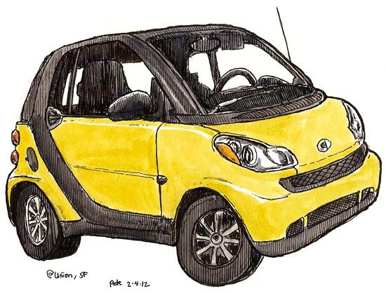 yellow smartcar in north beach
