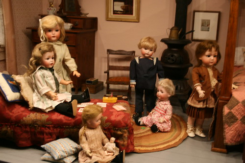 Brandywine Christmas Dolls in bedroom scene