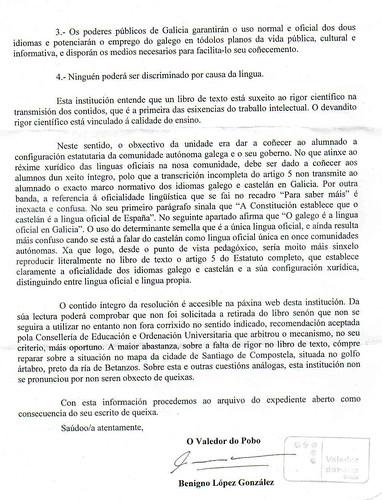Contestación do Valedor do Pobo libro censurado páx, 2 by romanlandin