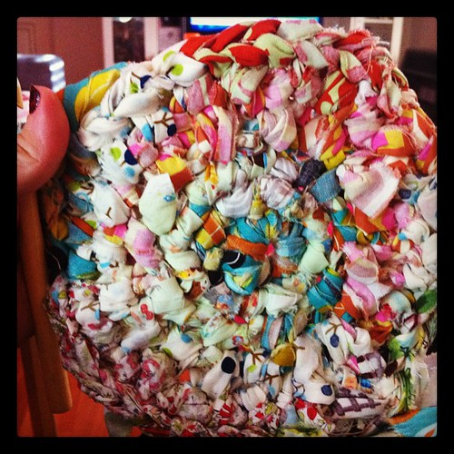 Rag rug progress. Looks a little rough.